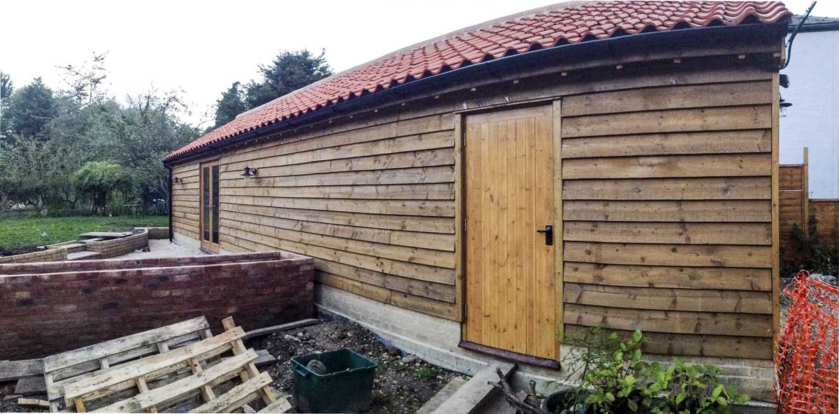 plenty of additional space created with this large timber-framed extension