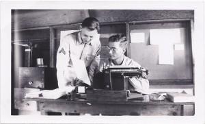 Harold Moss at typewriter, Maui, 1942
