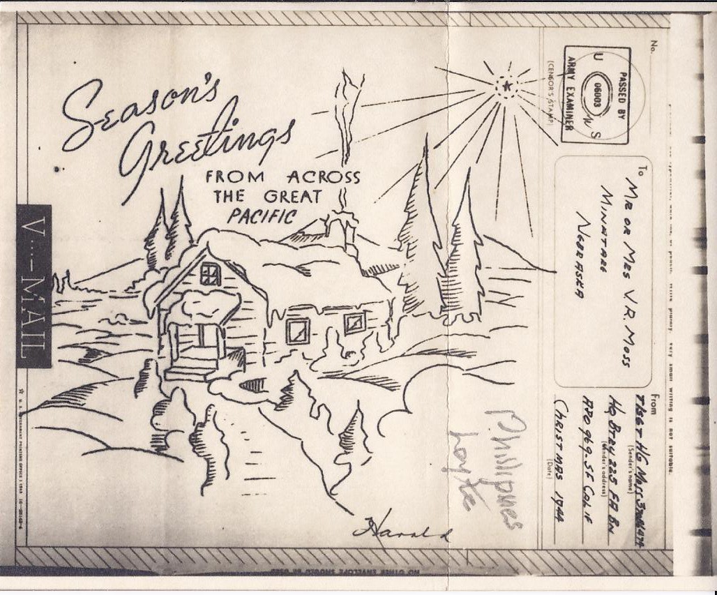 V-Mail Christmas Card 1944 - Moss Letters