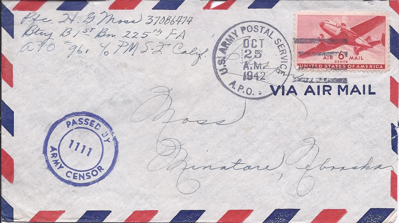 how to mail a letter air mail envelope october 25 1942 moss letters 1303
