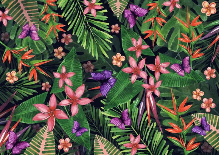 Tropical flowers pattern of exotic flower and plants. Realistic watercolor painting jungle: exotic flowers, butterfly and leaves. Exotic tropical background.