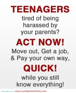 Teenagers - Move out, Get a job - Quick! while you still know everything!