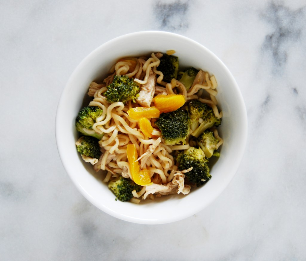 Broccoli Chicken Ramen with Bell Peppers
