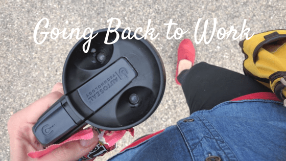 walking picture with coffee cup and bag. Text: Going Back to Work