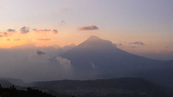 Volcan Agua as seen from Pacaya, at sunset.