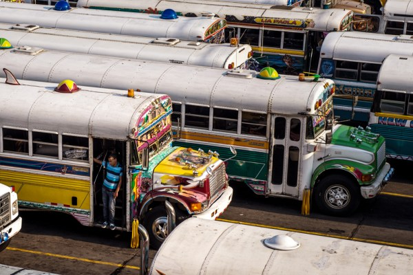 Chicken buses at the main Panama City bus terminal, Albrook