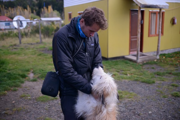 Marian with one of Patagonia's many free-roaming dogs