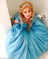 Sarah Michelle Gellar in bathroom in ballgown