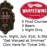 Warped Wing & Jimmie's Ladder 11 Team up for Food Adventure Event July 31st