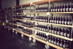 Shelves of growlers