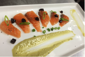 Vodka-cured Salmon with Soy Cubes, Yuzu Gelee