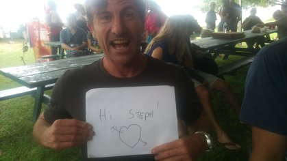 John Philbin - aka Turtle fro mthe movie North Shore - sends long-distance greetings to a French Canadian fan.