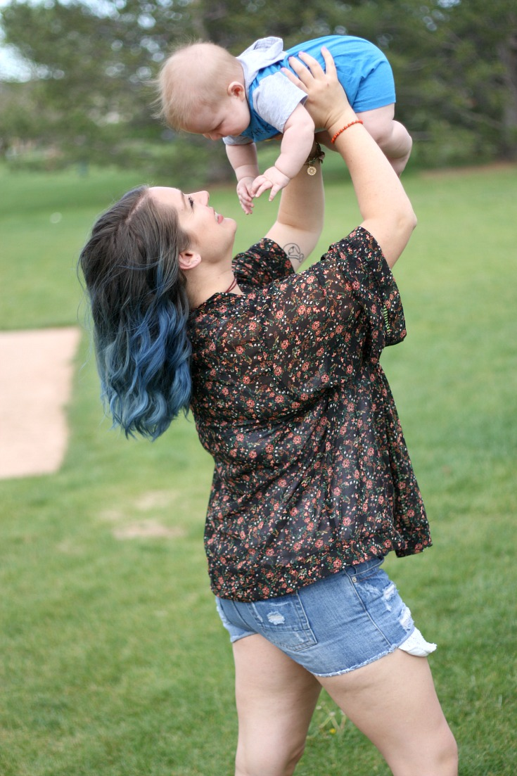 Blue hair and spring florals