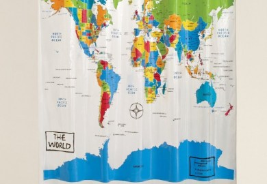 Cloth World Map Shower Curtain