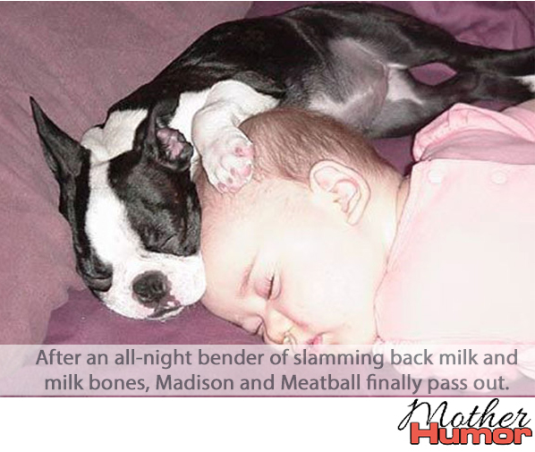 Cute picture of baby and dog sleeping together