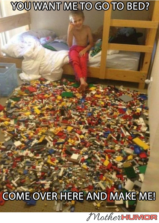 Funny Picture of Boy with Floor Covered in Legos