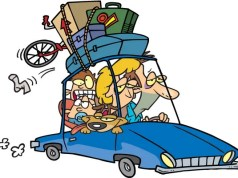 Funny cartoon of parents on road trip with kids