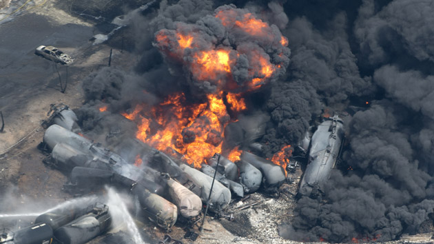 Tank cars carrying crude oil derailed in Lac-Mégantic, Quebec, in July 2013, killing 47 people. AP Photo/The Canadian Press, Paul Chiasson