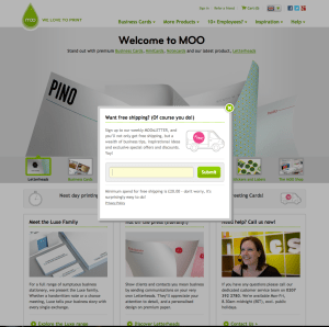 moo.com - how to get people to sign up for your email newsletter