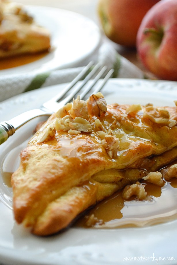 Apple Stuffed Crescent Roll French Toast | www.motherthyme.com