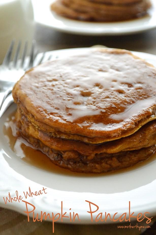 Whole Wheat Pumpkin Pancakes | www.motherthyme.com