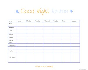 Organize Your Routine- evening printable checklist   www.motherthyme.com