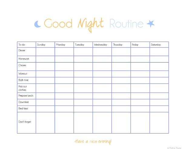 Organize Your Routine- evening printable checklist | www.motherthyme.com