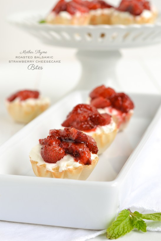 Roasted Balsamic Strawberry Cheesecake Bites by Mother Thyme