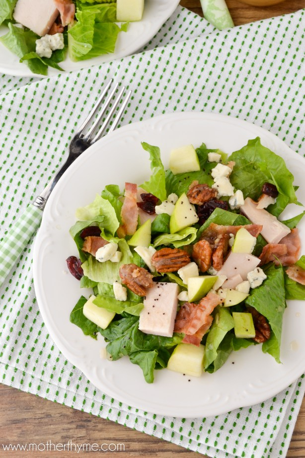 Roasted Turkey Fall Salad with Maple Poppy Seed Dressing - Mother Thyme