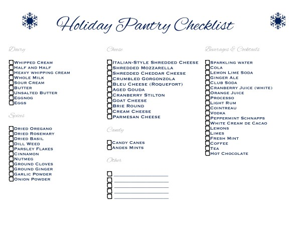 Holiday Pantry Checklist from www.motherthyme.com
