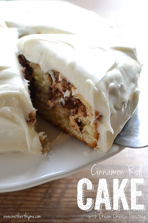 Cinnamon Roll Cake from www.motherthyme.com
