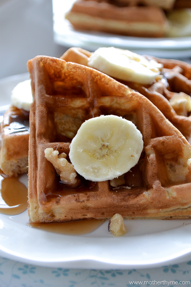 Banana Bread Waffles from www.motherthyme.com