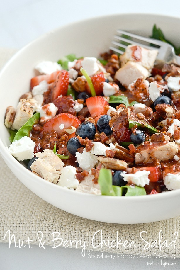 Nut and Berry Chicken Salad with Strawberry Poppy Seed Dressing | Mother Thyme