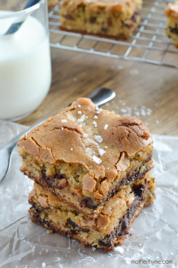 Salted Chocolate Chunk Congo Bars | Mother Thyme