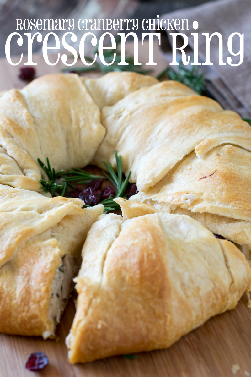 Get dinner ready in a snap with this delicious Rosemary Cranberry Chicken Crescent Ring made with just five simple ingredients!