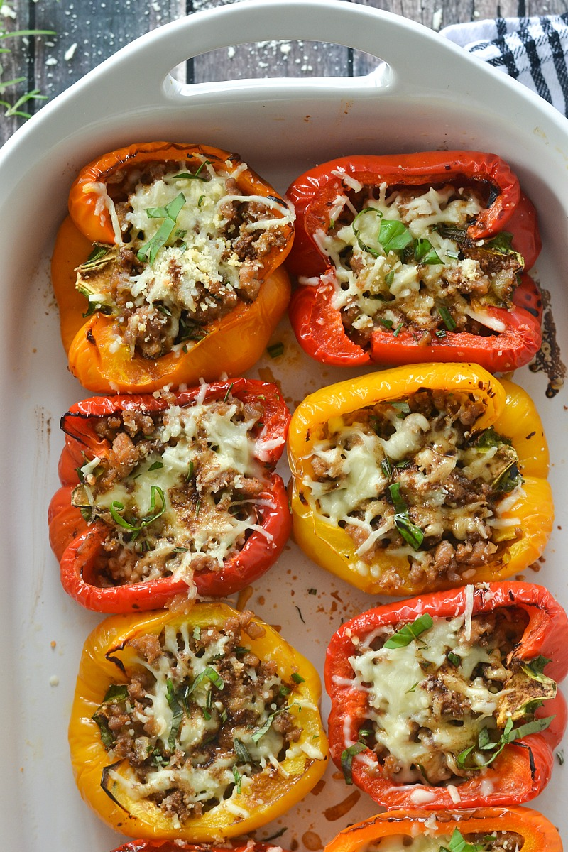 Roasted Stuffed Peppers with Italian Sausage and Balsamic Glaze   www.motherthyme.com