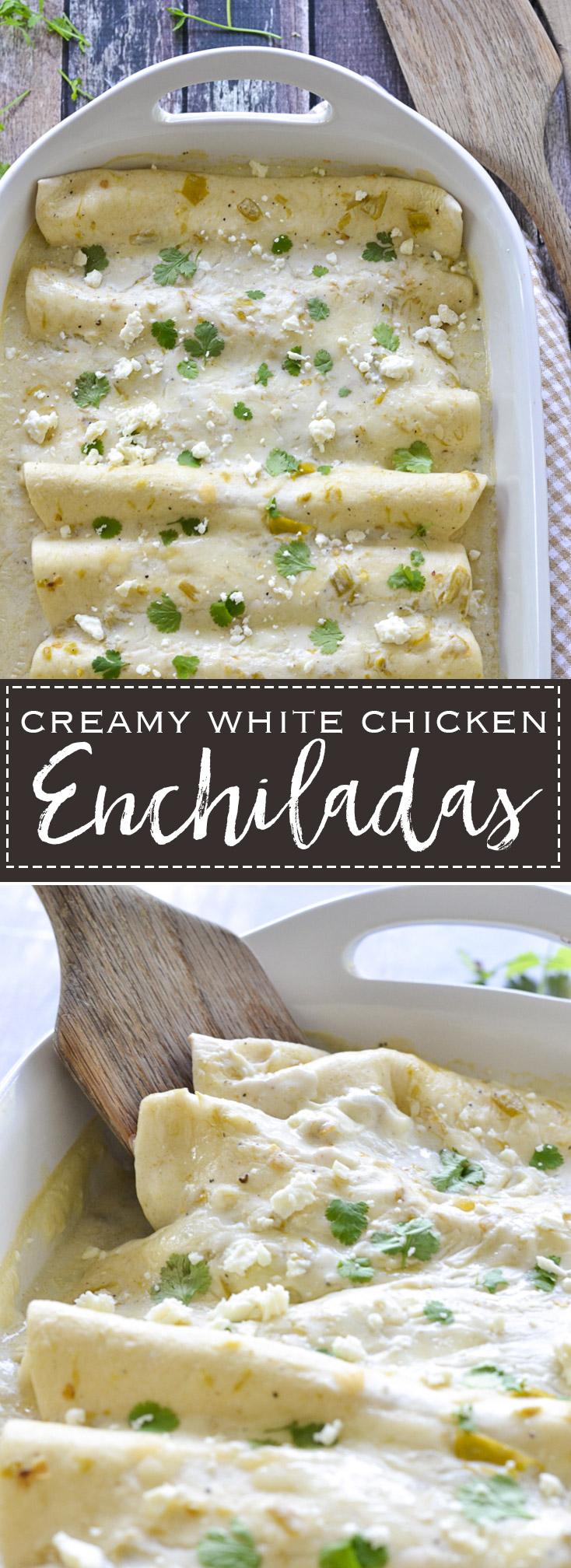Creamy White Chicken Enchiladas | www.motherthyme.com
