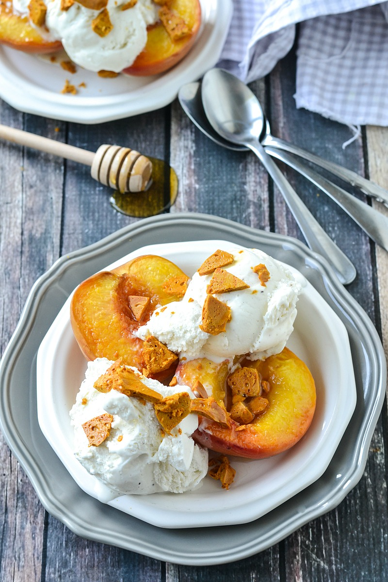 Roasted White Peaches with Honeycomb and Vanilla Ice Cream   www.motherthyme.com