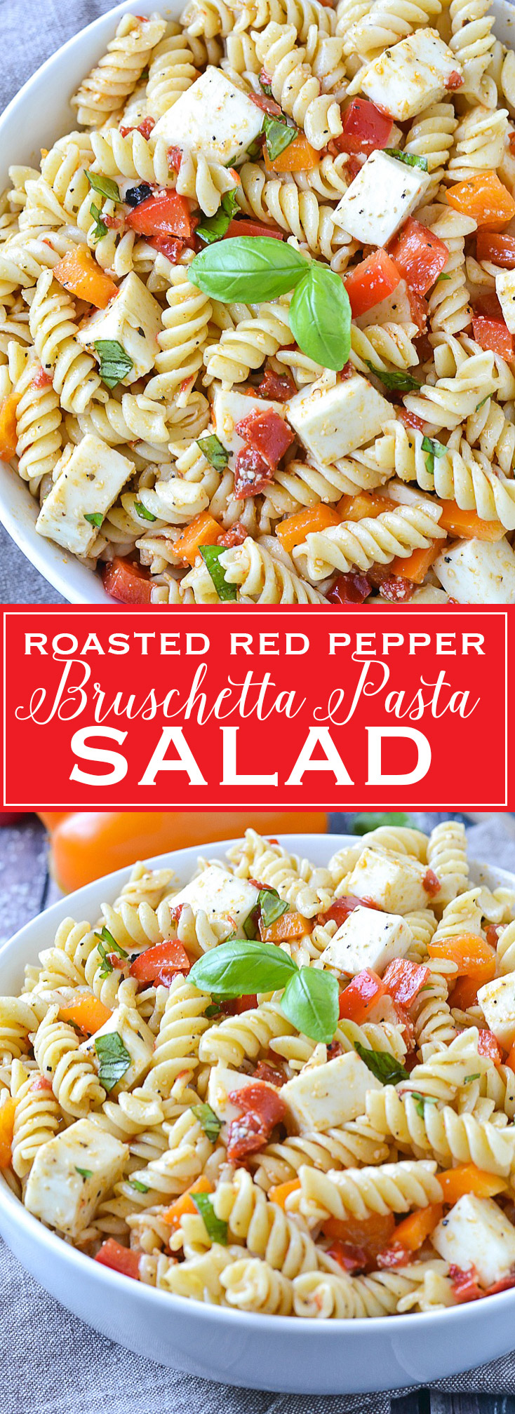 Roasted Red Pepper Bruschetta Pasta Salad | www.motherthyme.com