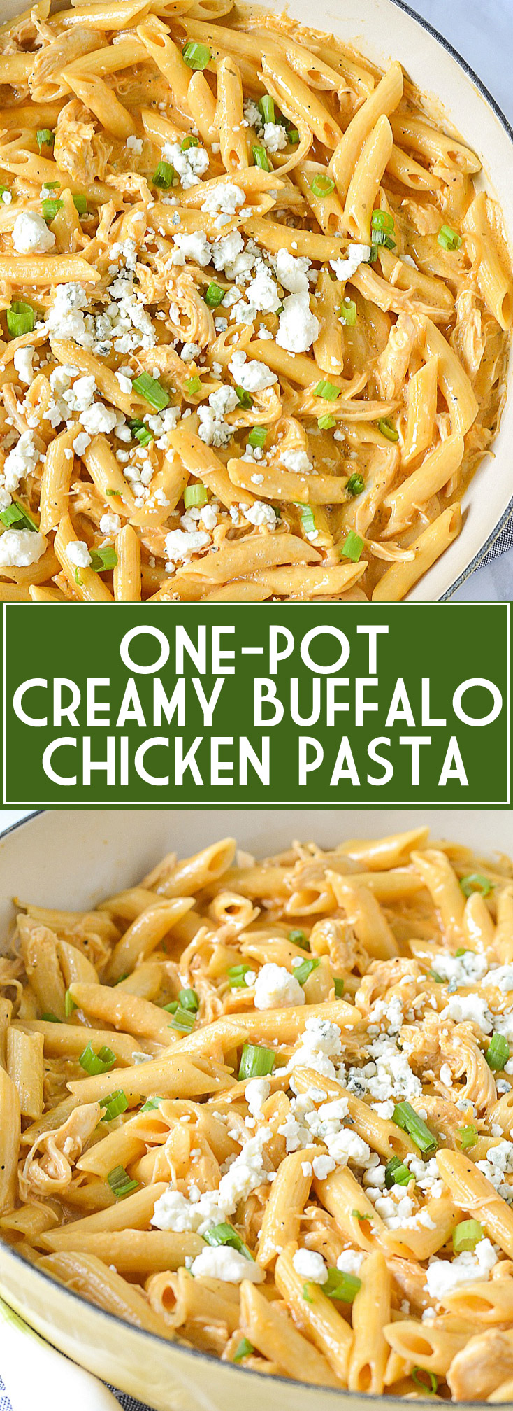 One-Pot Creamy Buffalo Chicken Pasta | www.motherthyme.com
