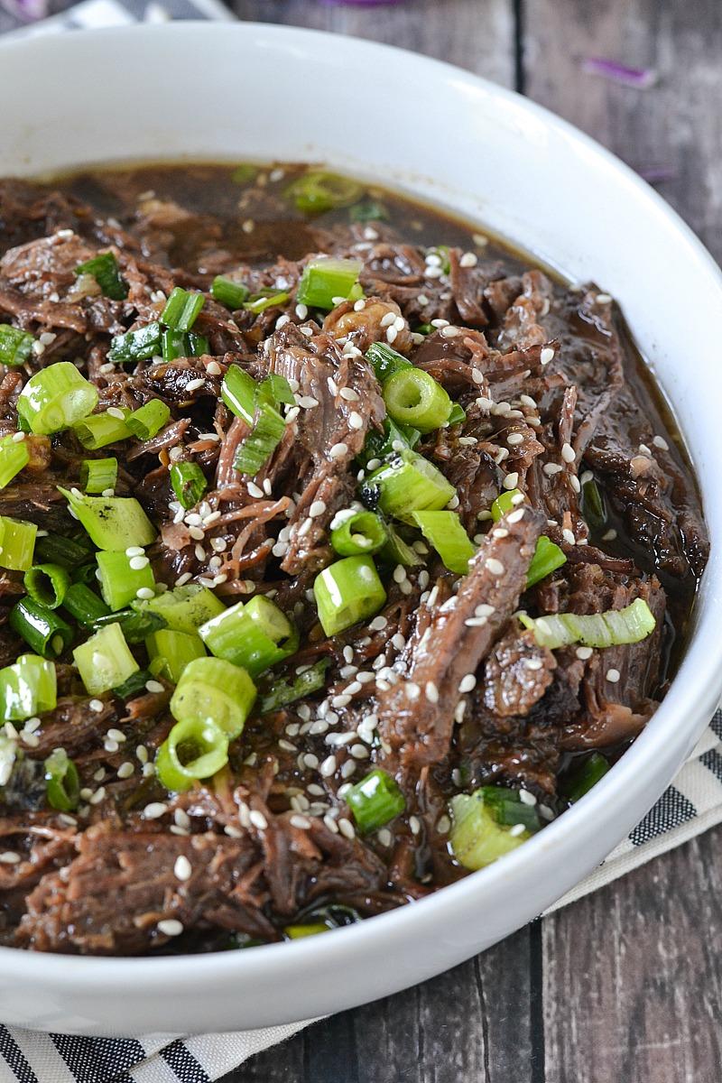 Crock-Pot® Slow Cooker Asian Style Shredded Beef #crockpotrecipes #ad