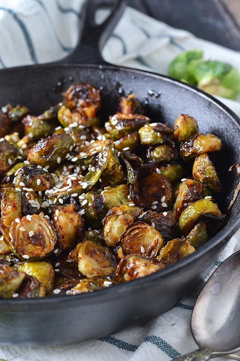 SWEET AND SPICY ASIAN GLAZED BRUSSELS SPROUTS