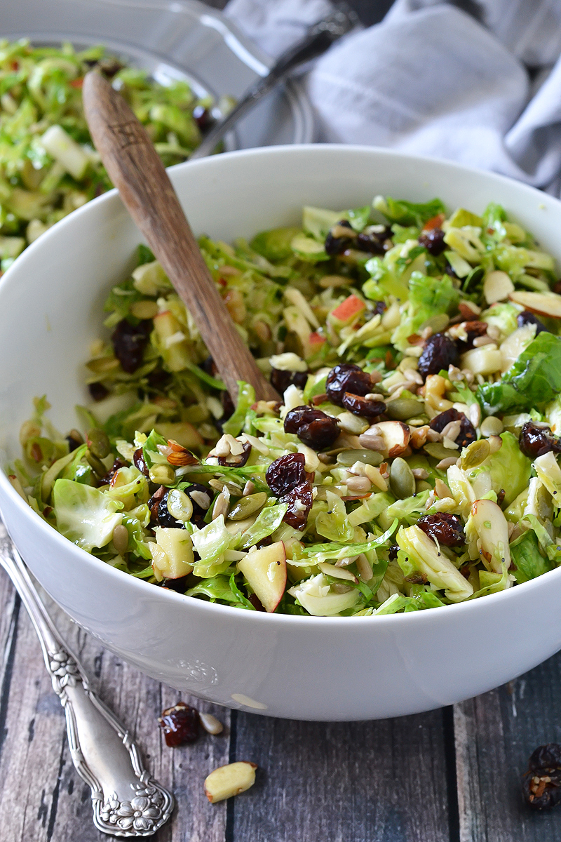 CRUNCHY BRUSSELS SPROUTS SALAD WITH FRUIT AND NUTS