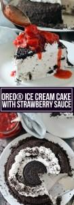 OREO ICE CREAM CAKE WITH STRAWBERRY SAUCE