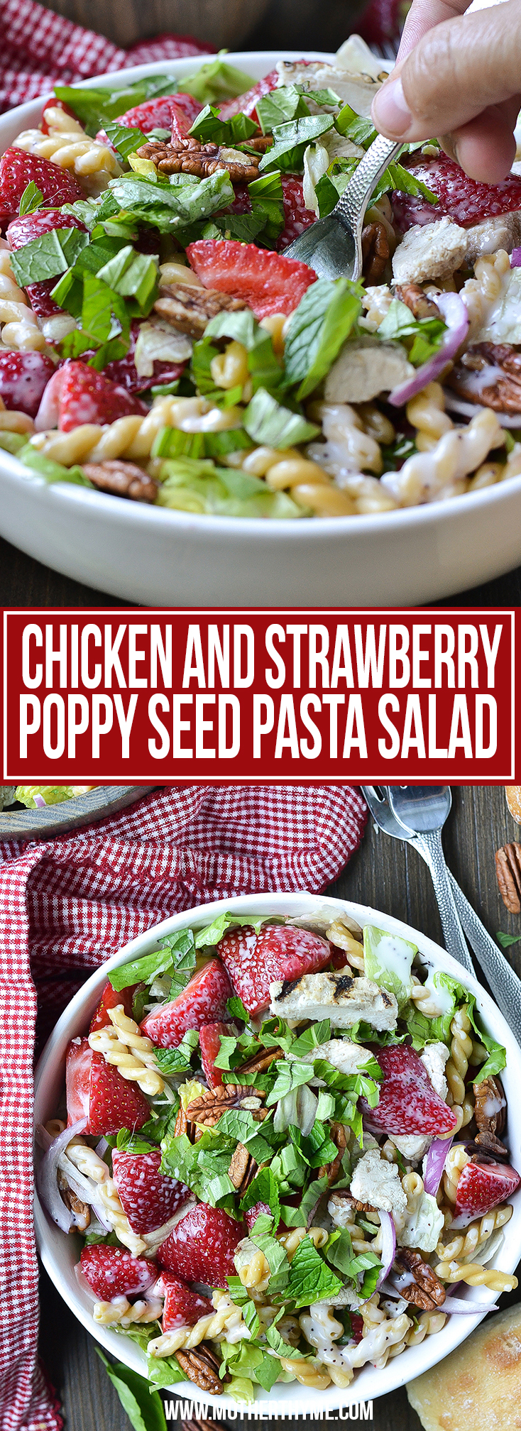 CHICKEN AND STRAWBERRY POPPY SEED PASTA SALAD
