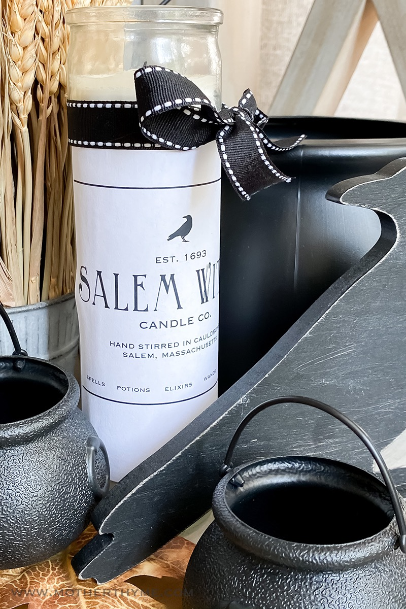 DIY Salem Witch Halloween Candle - Free Printable