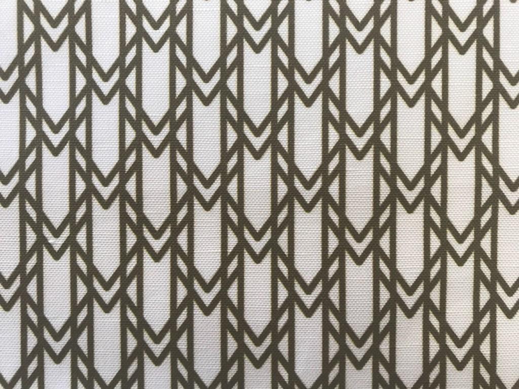 olive green and white geometric motif motif signature monogram linen cotton fabric detail