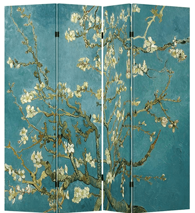 4 Panel (Original Teal Color) Wood Folding Screen Decorative Canvas Privacy Partition Room Divider - Vincent Van Gogh's Almond Blossoms