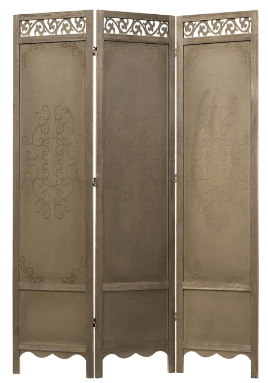 3-Panel Antique Cutout Scrollwork Brown Wood Room Divider