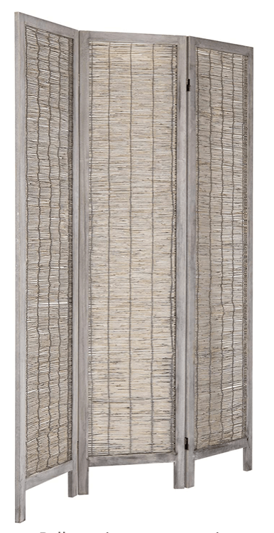 3 Panel Woven Reed Room Divider with Vintage Distressed Gray Solid Wood Frame
